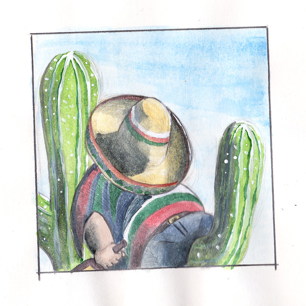 Watercolour sketch of a passed out mexican fella.