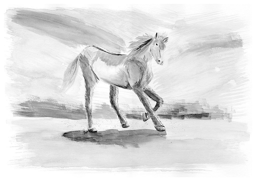 Wild, wild horses, we'll ride them some day... Sumi-e ink piece on paper.
