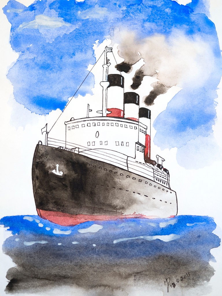 Watercolour steamship