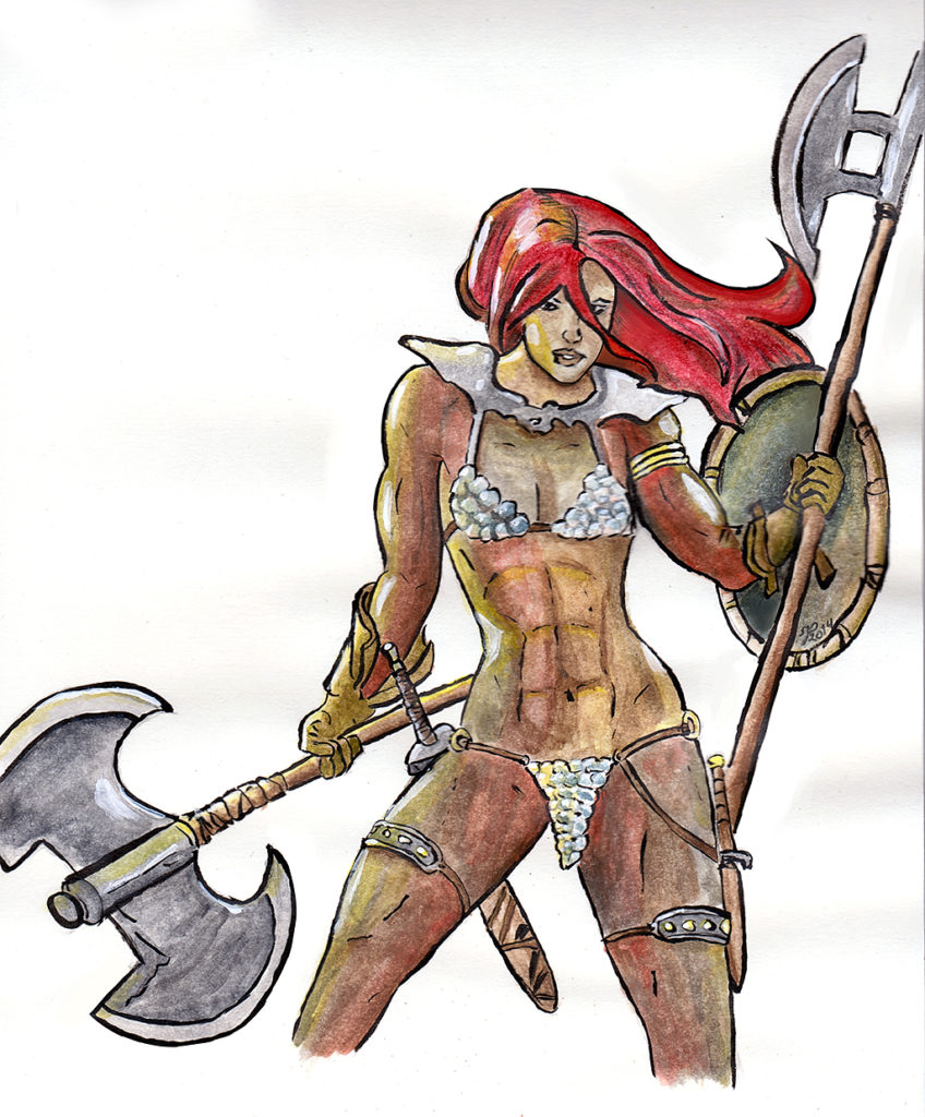 Watercolour study of good ol' Red Sonja