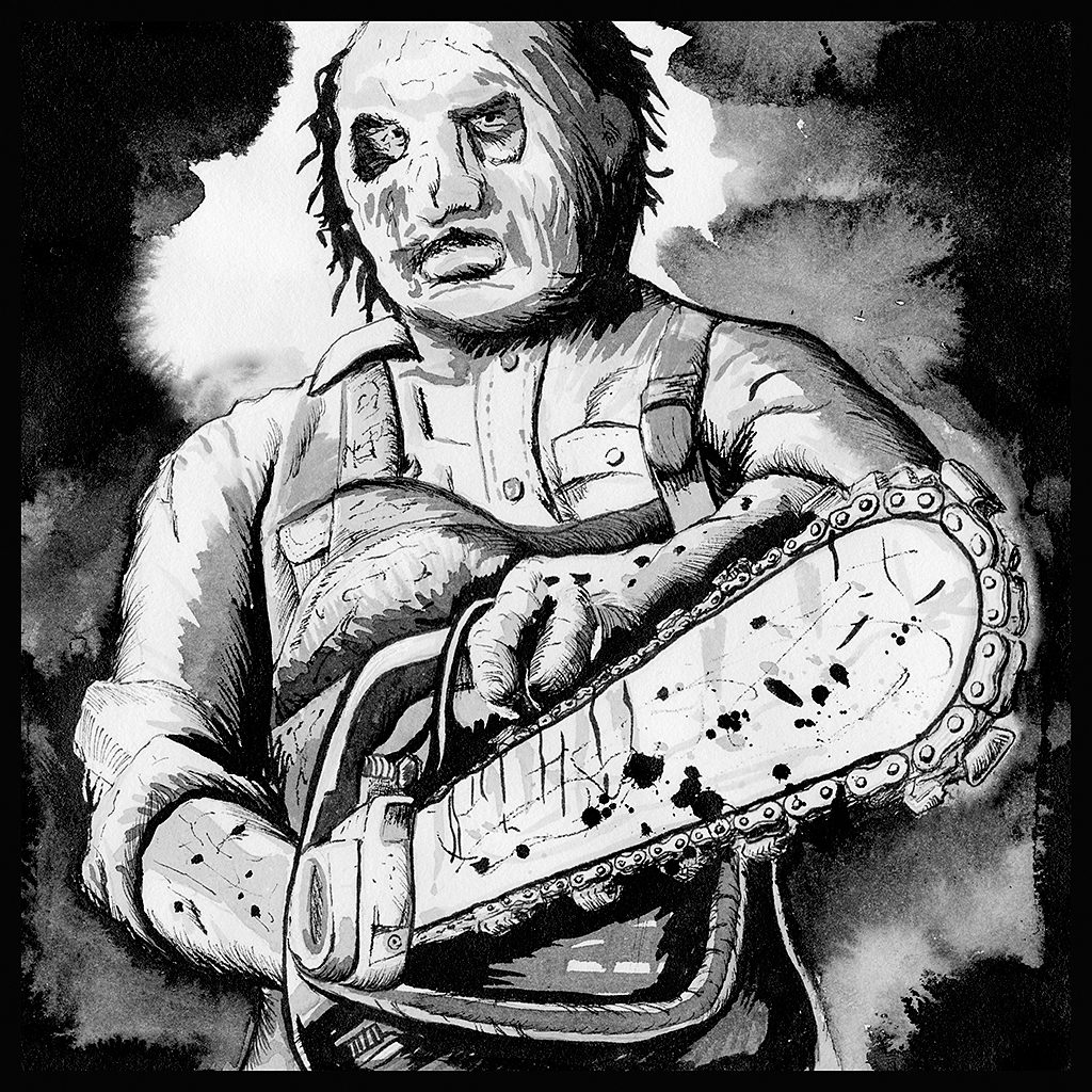 Leatherface from the Texas Chainsaw Massacre in Ink